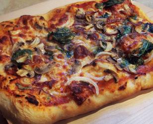 Spinach Onion Mushroom Garlic and Provolone Pizza