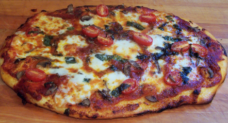 Fresh Mozzarella Tomato Basil and Mushroom Pizza