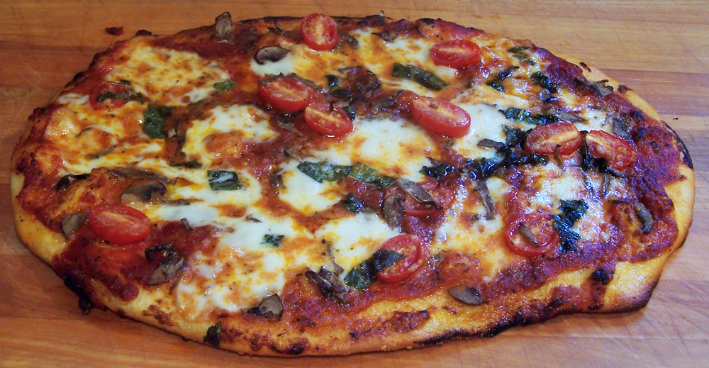 Fresh Mozzarella Tomato Basil and Mushroom Pizza | Epicure's Table