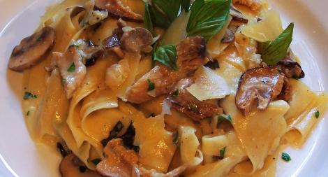 Handmade Papardelle with Creamy Mushroom Sauce