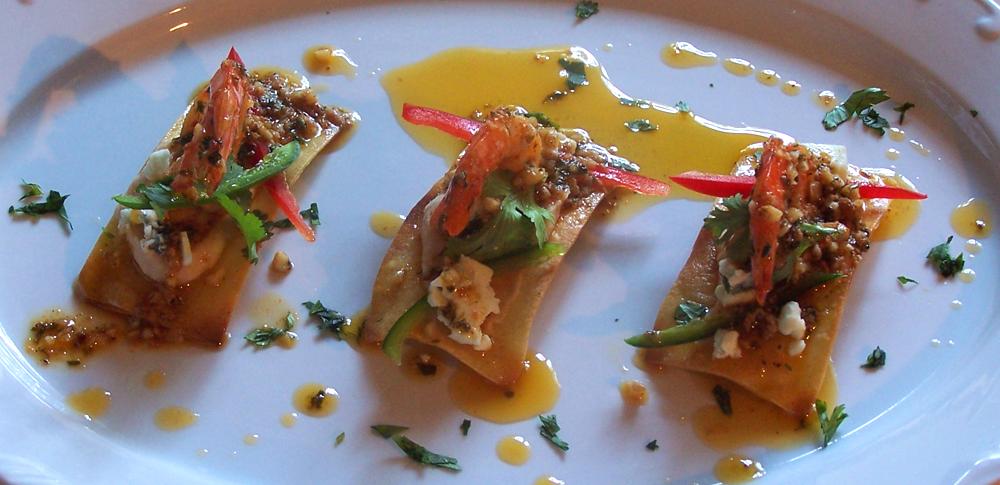 Shrimp and Blue Cheese Nachos with Bean Purée