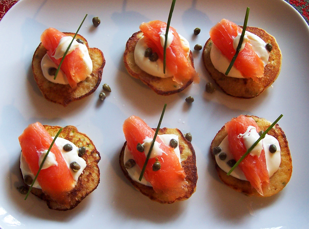 Garlic Chive Potato Blinis with Smoked Salmon and Cr�me Fraiche ...