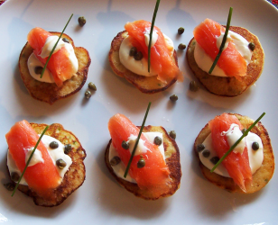 Garlic Chive Potato Blinis with Smoked Salmon and Creme Fraiche