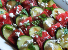Cucumber Watermelon and Feta with Balsamic Vinegar