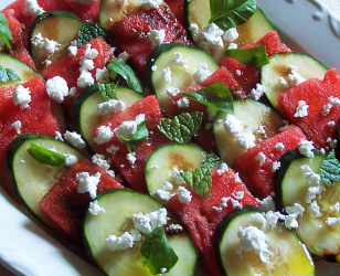 Cucumber Watermelon and Feta with Balsamic Vinegar
