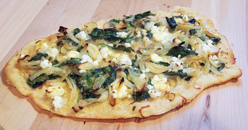 Spinach Onion Feta Pizza