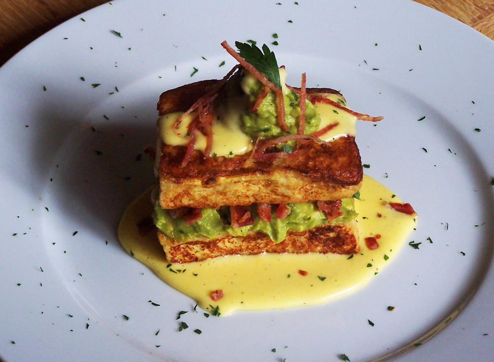 Avocado French Toast with Bacon and Hollandaise Sauce