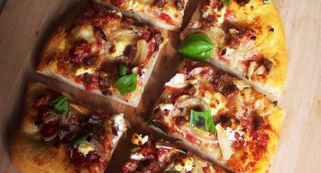 Chorizo Onion and Goat Cheese Pizza