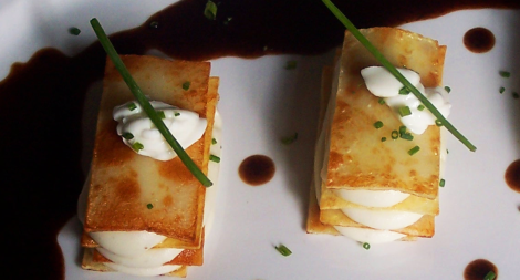 Potato Napoleon with Cognac Beef Demi-Glace