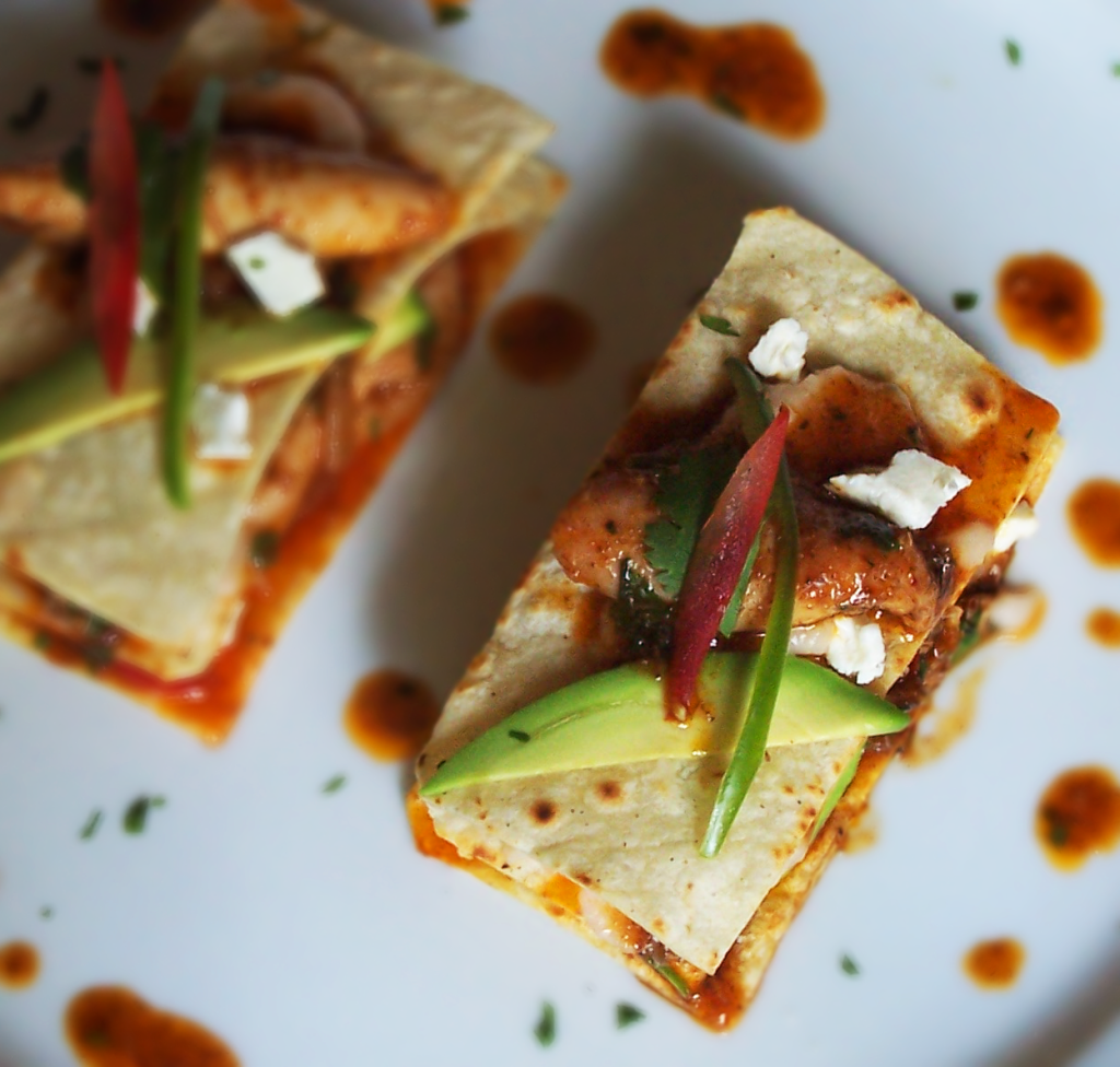 Braised Chili Lime and Cumin Chicken Tacos with White Bean Purée