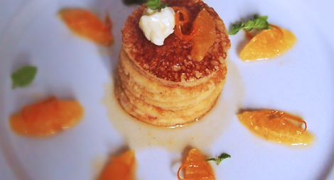 Buttermilk Pancakes Soaked in Grand Marnier Orange and Cardamom Maple Syrup