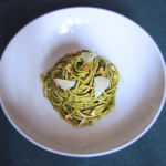 Basil and Spinach Pesto Pasta with Pine Nuts