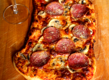 Delivery Style Pepperoni and Mushroom Pizza