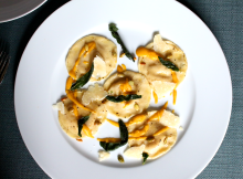 Butternut Squash and Mascarpone Ravioli with Toasted Pumpkin Seeds and Crispy Sage