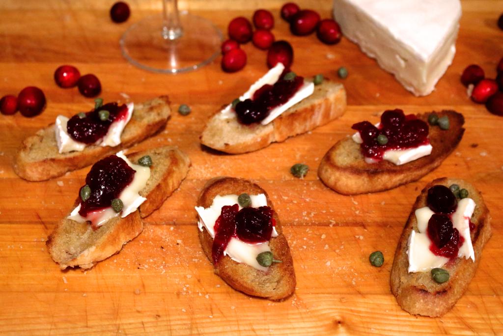 Cranberry Brie and Caper Crostini