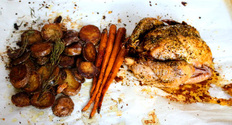 Roast Chicken Potatoes and Carrots
