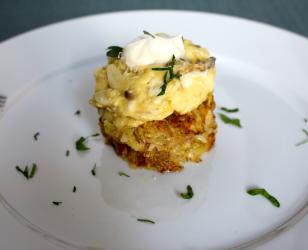 Mushroom Garlic and Parmesan Scrambled Eggs with Hashbrowns