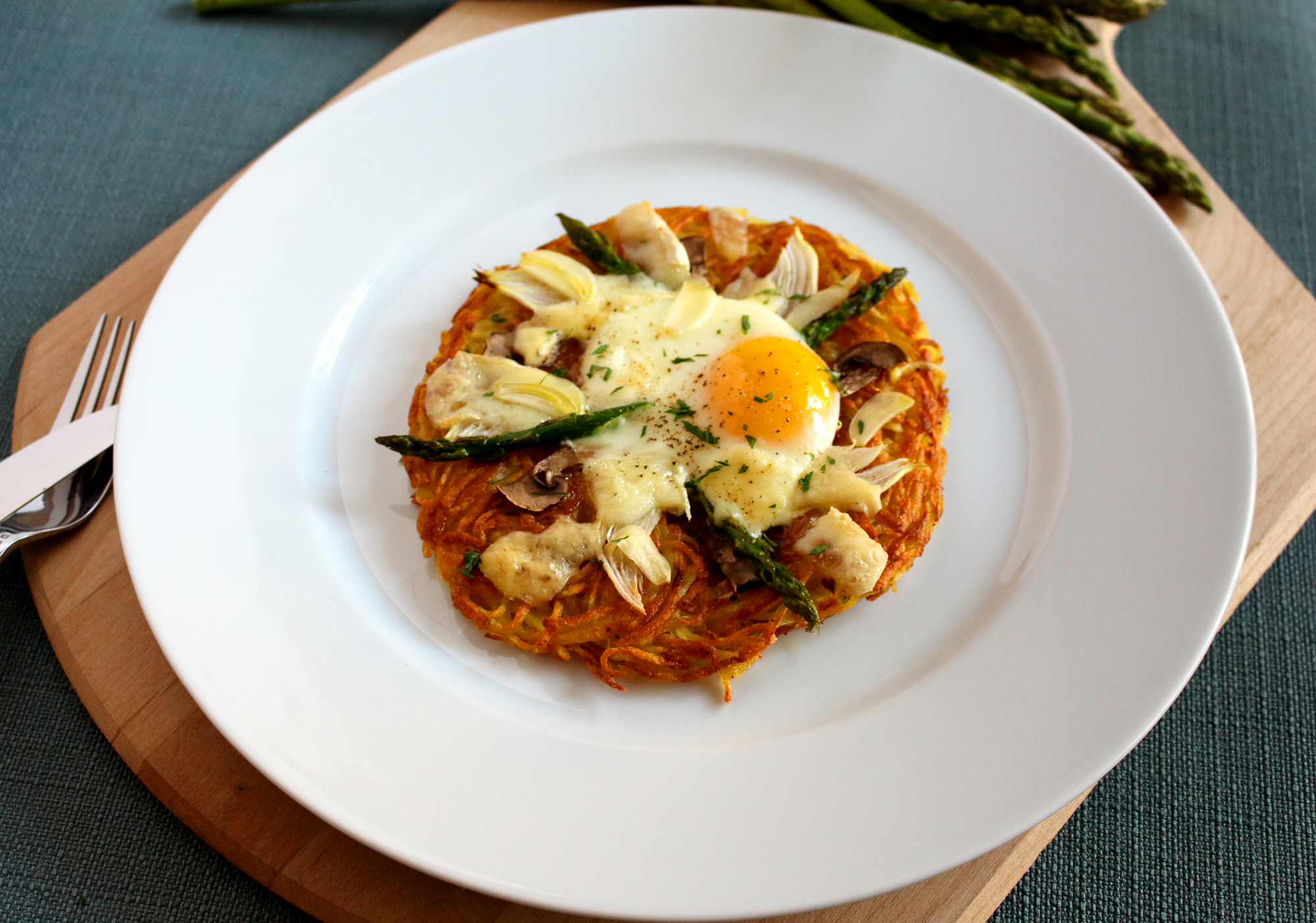 Grated Potato Pancake with Egg Asparagus and Cheese