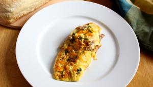 Mushroom Onion Garlic and Basil Omelette