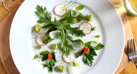 Mixed Green and Herb Salad with Fennel Radish Tomato and a Spicy Ginger Soy Avocado Purée