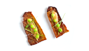 Crispy Salmon Skin with Snow Peas and Spicy Mustard