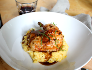 Roast Chicken with Red Wine Demi-Glace and Polenta