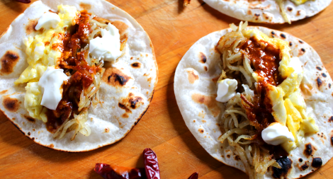 Egg and Hash Brown Tacos with Cile de Arbol Salsa