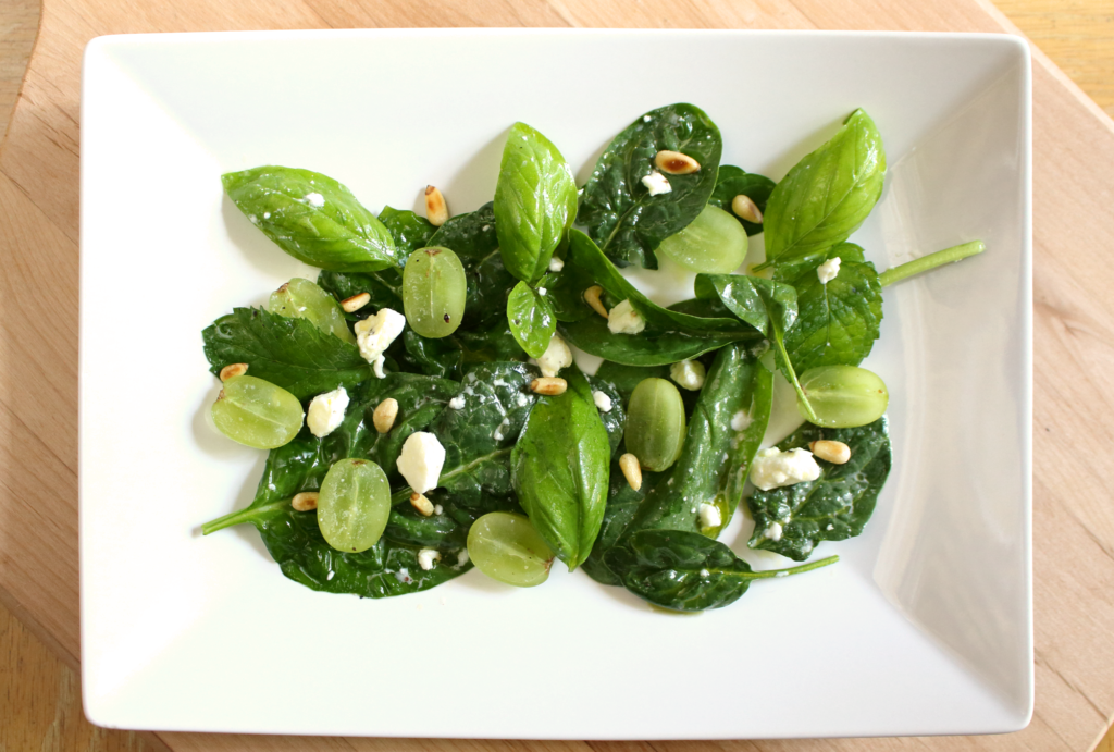 Spinach Grape and Herb Salad with Feta and Pine Nuts ...
