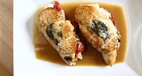 Stuffed Chicken Breasts with Chicken Demi-Glace