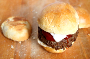 Two Inch Thick Onion Burgers on Homemade Buns