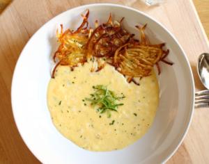 Creamy Scrambled Eggs with Potato Tuiles