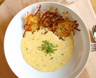 Creamy Scrambled Eggs with Potato Tuiles