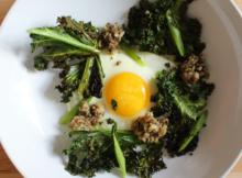 Egg with Crispy Kale and Sautéed Mushrooms