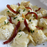 Gnocchi with Garlic Parmesan Bacon and a Sage Zabaglione