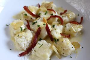 Gnocchi with Garlic Parmesan Bacon and a Sage Zabaglione