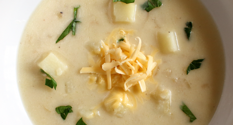 Potato and Onion Soup with Smoked Gouda
