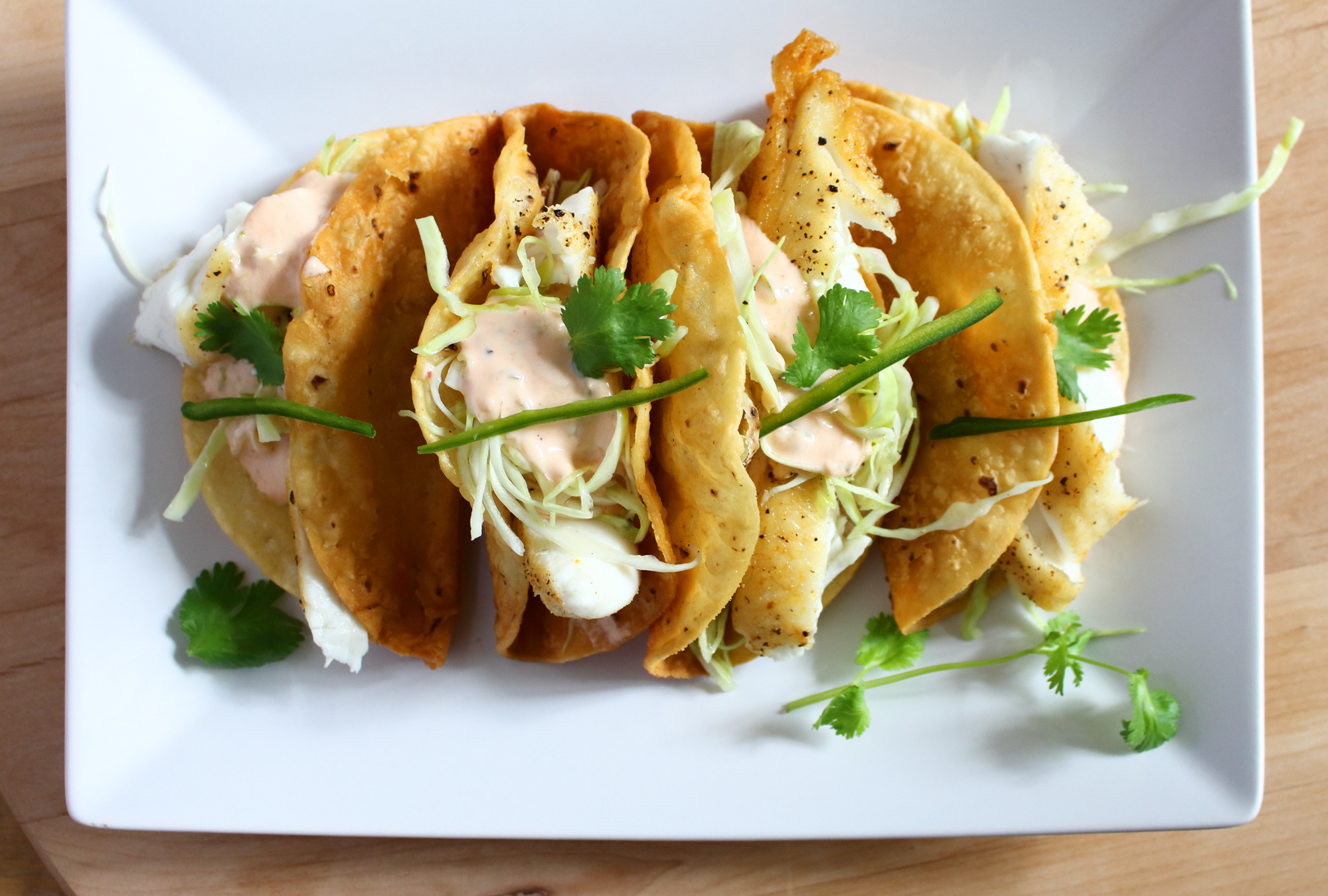 Crispy Fish Tacos with a Spicy Yogurt Sauce