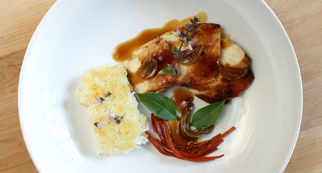 Chicken with Crispy Rice and a Honey Soy Gastrique