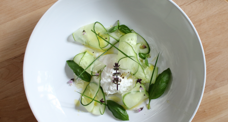 Cucumber Herb Salad with a Poached Egg