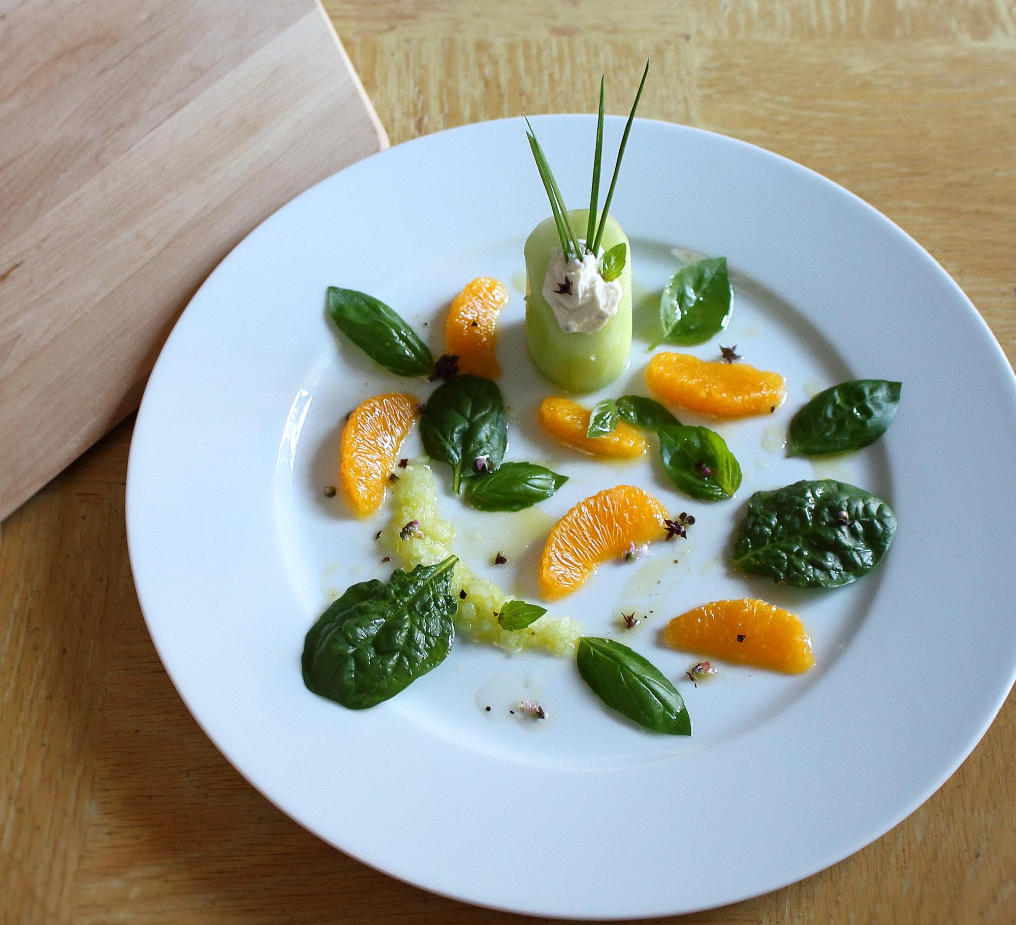 Cucumber Orange and Spinach Salad