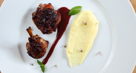 Roast Chicken with a Red Wine Cherry Sauce