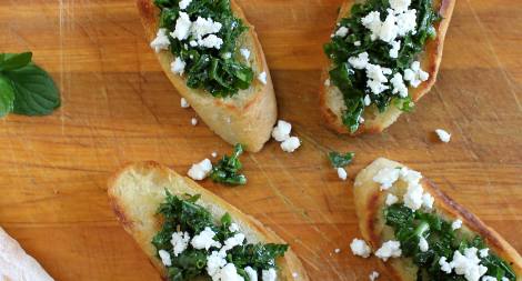 Kale Herb and Feta Crostini