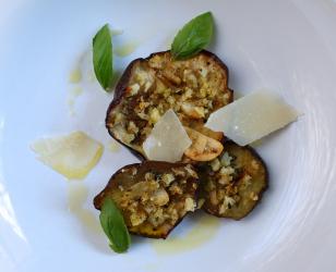 Baked Eggplant with a Basil Breadcrumb Gremolata