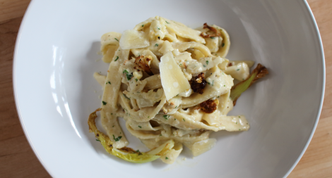 Roast Cauliflower and Gorgonzola Tagliatelle